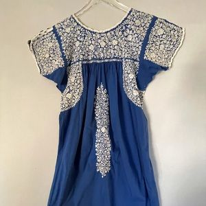 Mexican Oaxacan Traditional Embroidered Dress Blue w/White